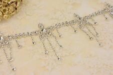 Sequin Pendant Crystal Applique Trim Dangle Flower Rhinestone Motif Trim Wedding