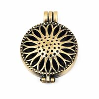 2 Bronze Metal Filigree Open LOCKET Perfume Diffuser Pendants, Sunflower chb0318