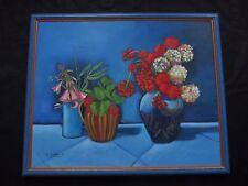 """Excelente gran naturaleza muertos 1998"""" jarra Y floreros de flores """" sig Y."""