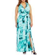 NWT London Times Aqua Blue Print Faux-Wrap Maxi Dress QUALITY Chiffon Gown 20W