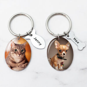 Personalized Dog Photo Keychain Bone Keychain Cat Picture Keyring Pet Lover Gift