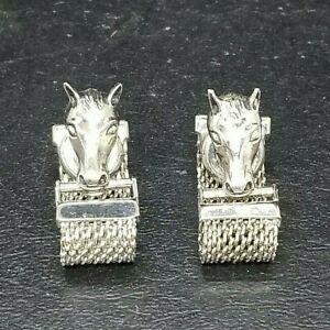Swank Horse Head Silver Tone Mesh Vintage 1930s Kum-A-Part Cufflinks RARE