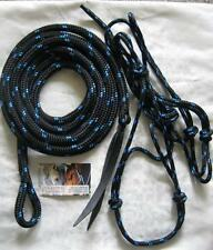 Pony Rope Halter with 12ft Lead with Loop in Black with Blue Fleck Horsemanship