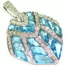 Cut White Diamond Topaz Engagement Necklace Vintage 14K Solid Gold Natural Round