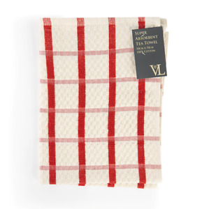 Pack of 3 Super Absorbent Waffle 100% Cotton Check Tea Towel 50 x 70 cm