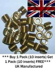 M6 x 8mm Solid Brass Threaded Self Tapping Slotted Screw-in Inserts for Wood.