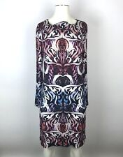 ARTELIER NICOLE MILLER Colorful Filigree Long Flare Sleeve Shift Dress Sz Small