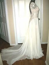Authentic Reem Acra New York Embroidered Chiffon Mermaid Gown Ivory/Nude  Size 8
