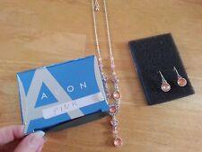 NIP NEW AVON Pretty Pastel Y Necklace Earrings Gift Set Pink 2007