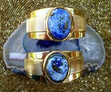 26MM THICK GOLD PLATED CUFF W 18X25MM BLUE FIRE AGATE OVAL ABSTRACT CAB L=6.5""