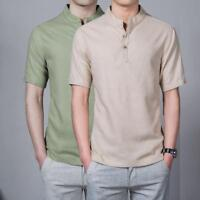 Men Chinese Casual Retro Mandarin Collar Linen Button Neck Shirt T-Shirt Top New
