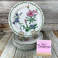 International TERRACE BLOSSOMS Stoneware Pink Blue Floral Dinner Plates Set of 6