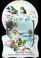 IMAGE CHROMO CHOCOLAT POULAIN / FLEUR ROSE / OISEAU & VILLA en hiver