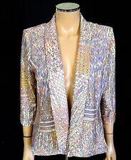 ALBERTO MAKALI Blazer Jacket SIZE MEDIUM Lilac Lavender Multi Print Open Coat