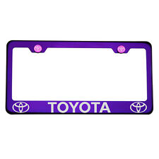 Laser Engraved Toyota Blue Purple Chrome License Plate Frame 304 Stainless Steel