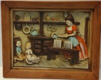 VINTAGE NORCREST JAPAN CERAMIC TRAY WALL HANGING woman cooking w children p914