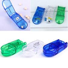 PILL CUTTER Splitter Half Storage Compartment Box Medicine Tablet Holder Safe