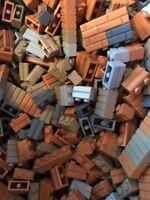 Lego Lot 1x2 Bricks Modified w/ Masonry Profile Wall 100pc Decor