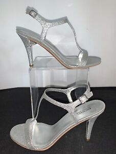 "Michael Kors Arden Sandals 3.75""Heels Silver Glitter Ankle/T-Straps  Size 10 NEW"