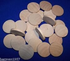 """25 Natural Unfinished HardWood 1-1/2"""" Wood Circles Discs Wooden Crafts Spacers"""
