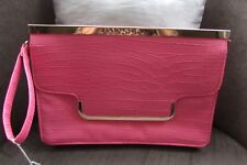 Atmosphere Pink Reptile Clutch Bag with Gold Metal Trim & Wristlet