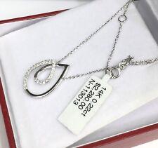 14k Solid White Gold Genuine 0.22CT Diamond Necklace Pendant. Retail $2280