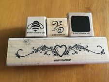 4 NEW 19987 Retired Stampin Up Wood Rubber Mounted Stamp, Hearts, Bee, Square