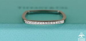 Tiffany & Co. Frank Gehry 18k White Gold & Diamond Torque Square Ring w/ Boxes
