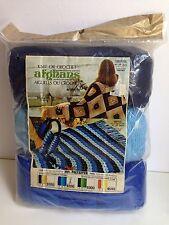 1976 AFGHAN Throw Blanket Kit, Knit or Crochet, Blue, Sealed!