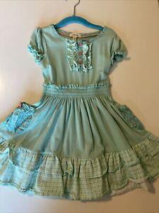 ❤️Matilda Jane Girls sz 4T summer dress aqua ruffles