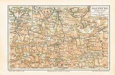 Karte von SALZBURG / SALZBURGER LAND 1889 Original-Graphik