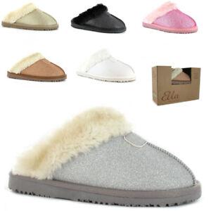 Ladies Jo & Joe Glitter Sparkle Gift Boxed Faux Fur Trim Lined Slip On Warm Mule