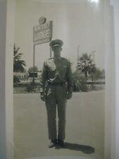 Vtg Original WWII Photo U.S. Army Air Force Soldier MONTEREY LODGE MOTEL Uniform