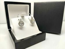 White gold finish and created diamond round cut droplet earrings gift box