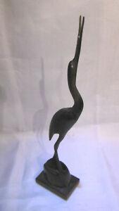 oiseau heron sculpté en corne de bovin