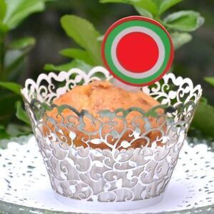 120 x Silver Lace Filigree Wedding Cupcake Wrapper Baking Cake Cups Wraps