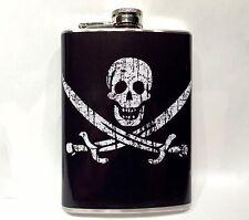 JOLLY ROGER FLAG 8oz Silver Metal Steel Drinking Flask Skull Pirate Ship Sword