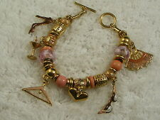 Goldtone Pink Rose Glass Bead Charm Bracelet, Fan, Hanger, Shoe, +(B31)