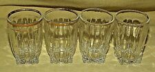 SHOT GLASS SET 4 FEDERAL PARK AVENUE PATTERN GOLD RIM BARWARE SQUARE BASE OLD*