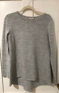 Hobbs Grey Marl 100% Merino Wool Crew Neck Fit and Flare Style Jumper XS