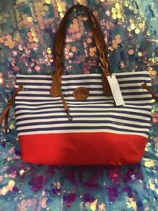 Dooney and Bourke Blue/White Shopper Tote NWT