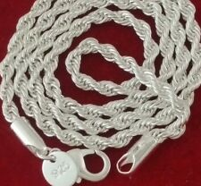 .925 Sterling Silver Diamond Cut Twisted French Rope Chain Choker Necklace