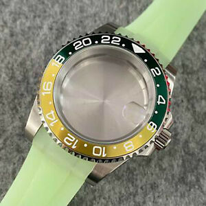 SUB Watch Case + Strap 40mm Luminous Steel Sapphire Glass Case for NH35 Movement