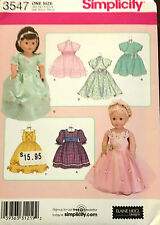 """NEW UNCUT SIMPLICITY 3547 18"""" DOLL CLOTHES & ACCESSORIES PATTERN"""