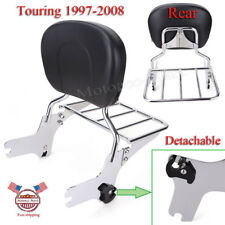 Chrome Detachable Backrest Sissy bar W/ Luggage Rack For Harley Touring 97-2008