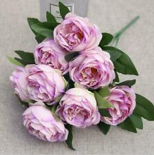 10heads large peony Rose Silk Artificial Flower 10 Stems Flower Head-Purple