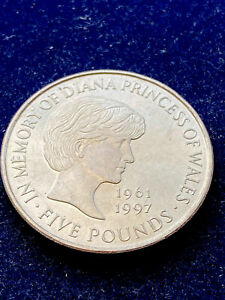UNITED KINGDOM £5 POUNDS 1999 PRINCESS DIANA, VERY RARE WORLD COIN