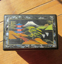VINTAGE ORIENTAL JEWELLERY MUSIC BOX SHELL INLAID HAND PAINTED BLACK LAQUER