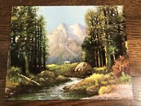 VTG R. Wood MAJESTIC PEAKS Color Lithograph Print 8 x 10 Cardboard w/Brushstroke
