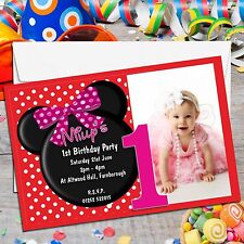 10 Personalised Girls Mouse 1st First Birthday Party PHOTO Invitations N147